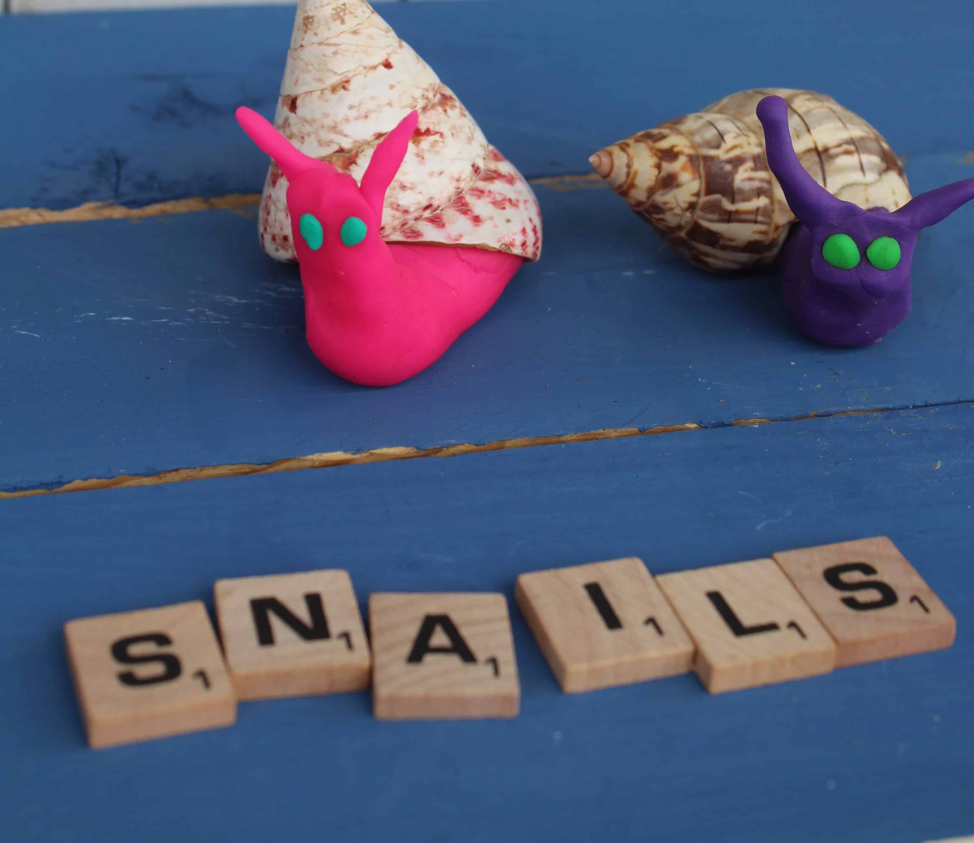 making snails from playdough