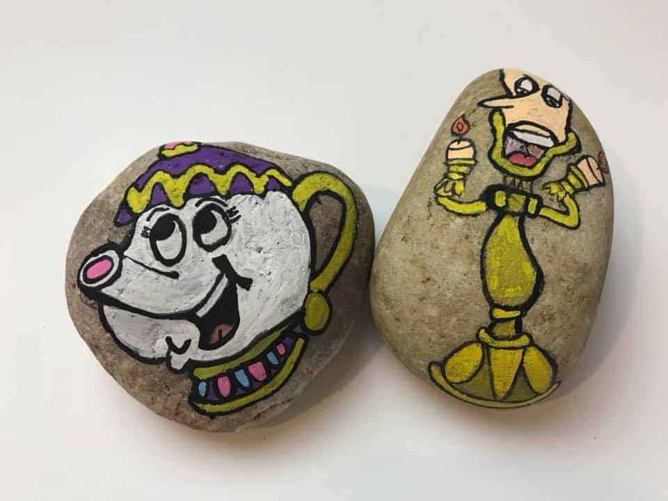 Mrs Potts Disney Rock Painting