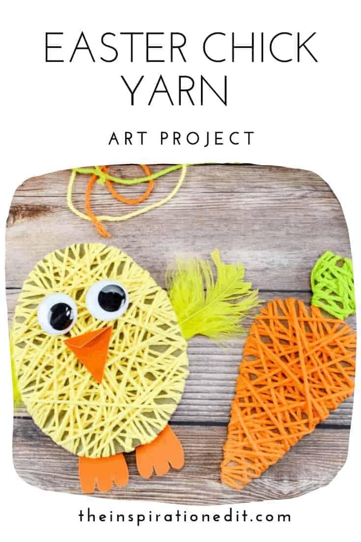 easter chick yarn activity for preschool kids