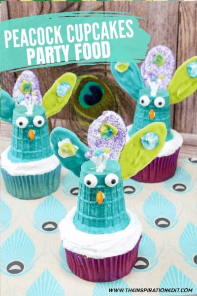 Peacock Cupcakes Party Food Ideas