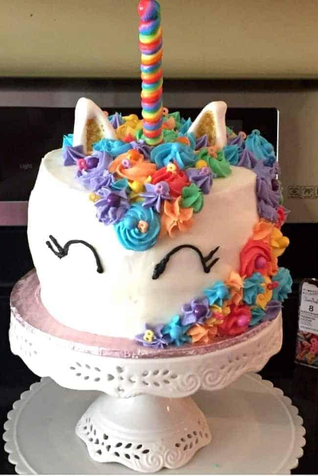 unicorn smash cake