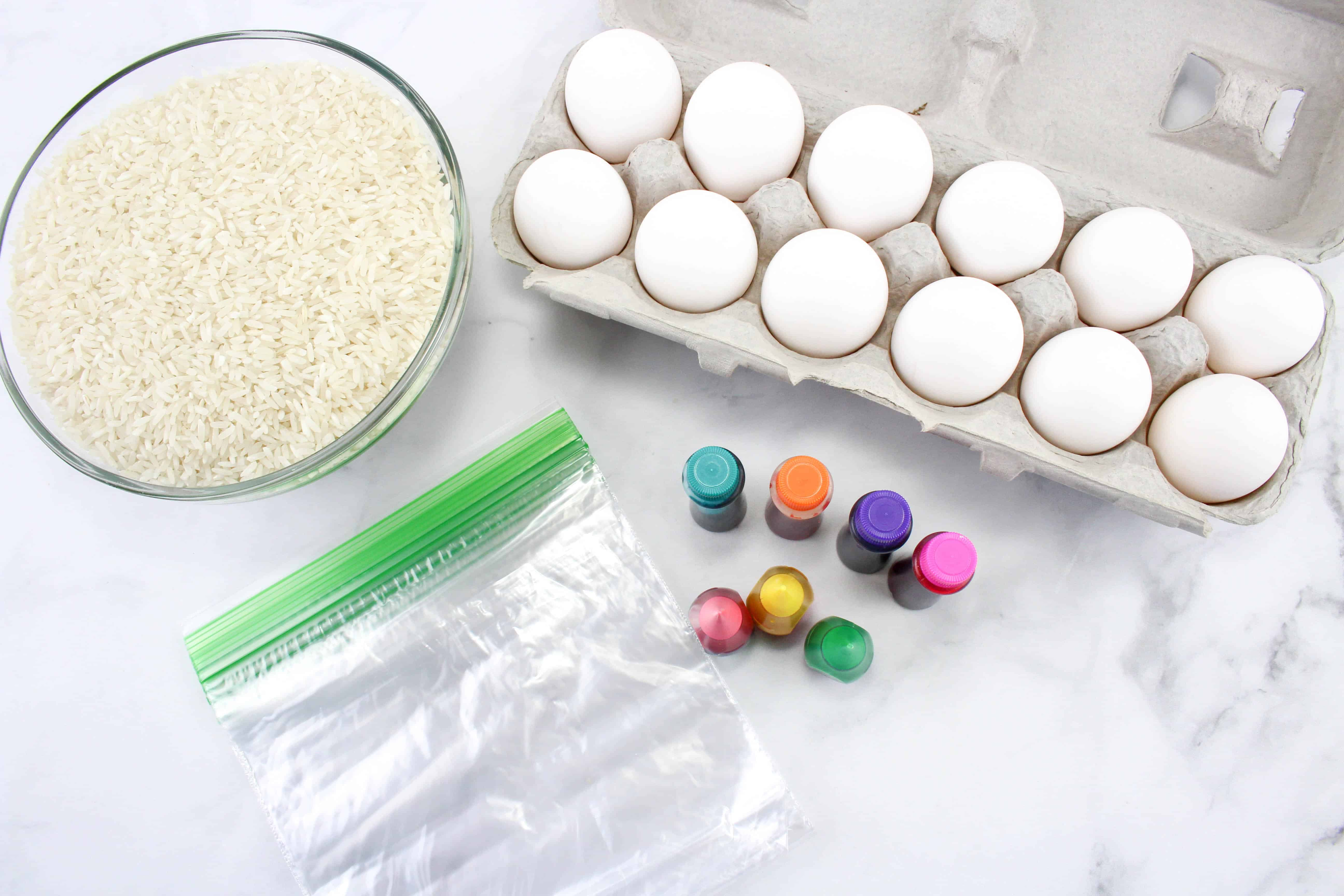 Rice, eggs, and food coloring