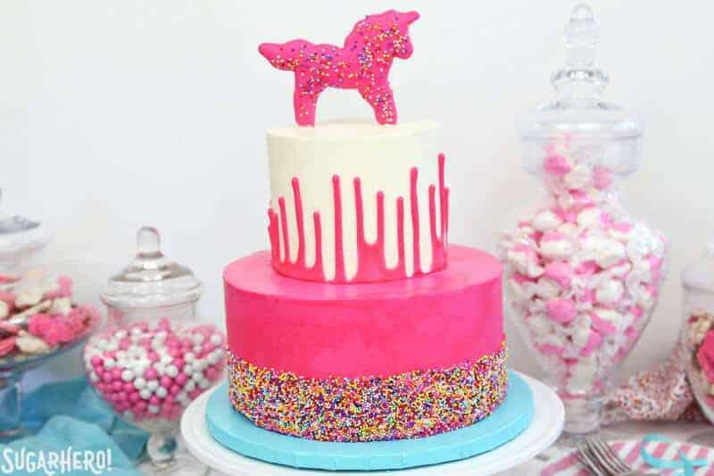 funfetti cake with unicorn topper