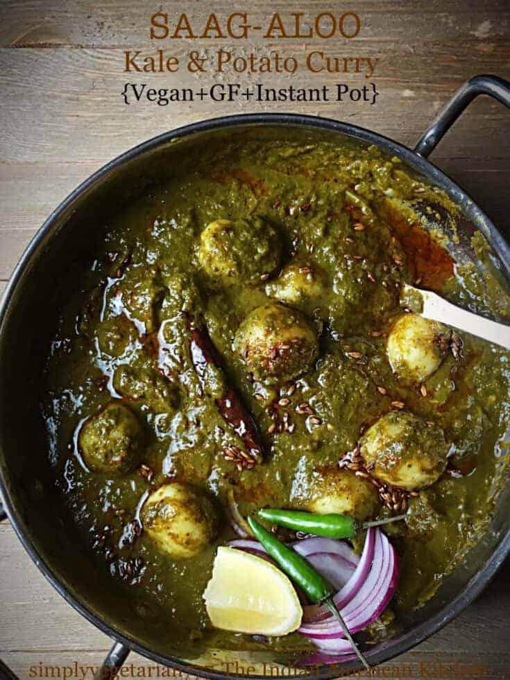 Saag Aloo Instant Pot Easy Authentic Recipe - Vegan & Gluten-Free Curry