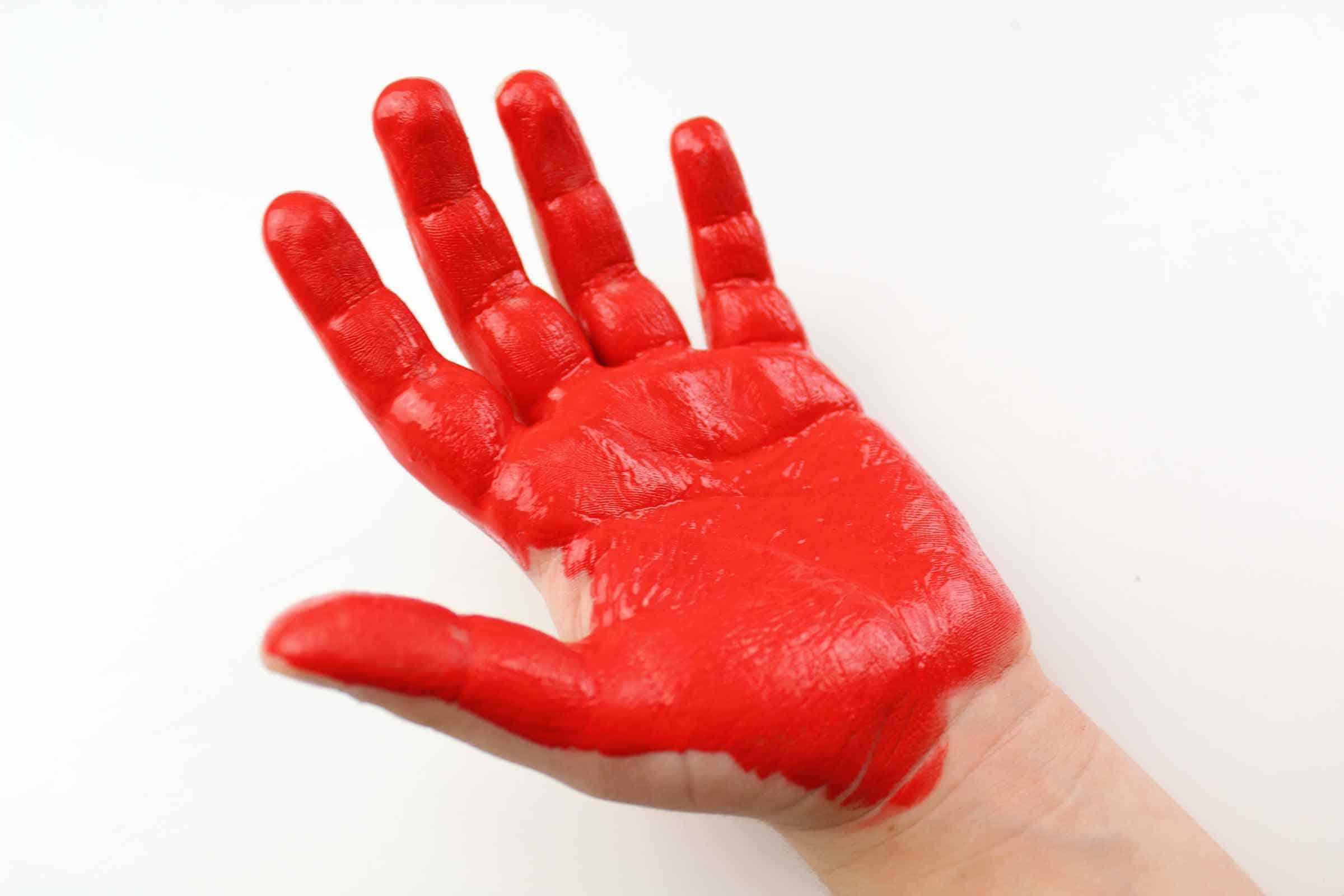 red handprint