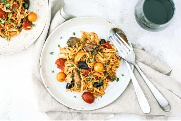 One-Pot Mediterranean Pasta With Mackerel