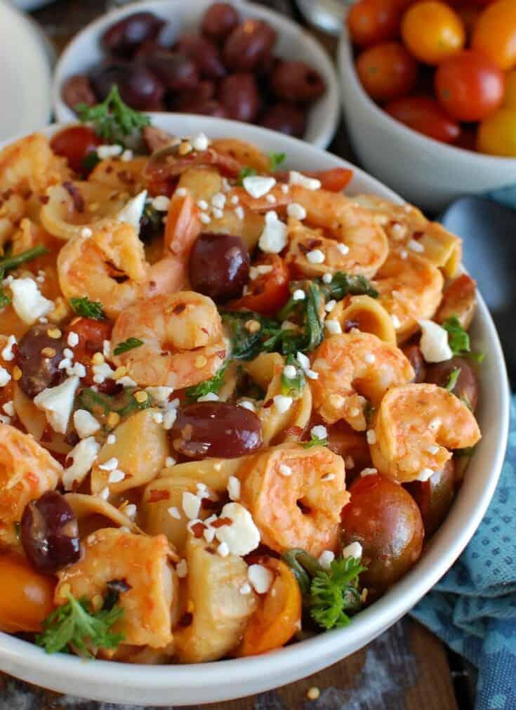 One Pot Mediterranean Shrimp Pasta {with Lactose-Free Cream Sauce}