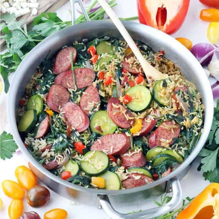 One-Pot Mediterranean Turkey Sausage and Rice