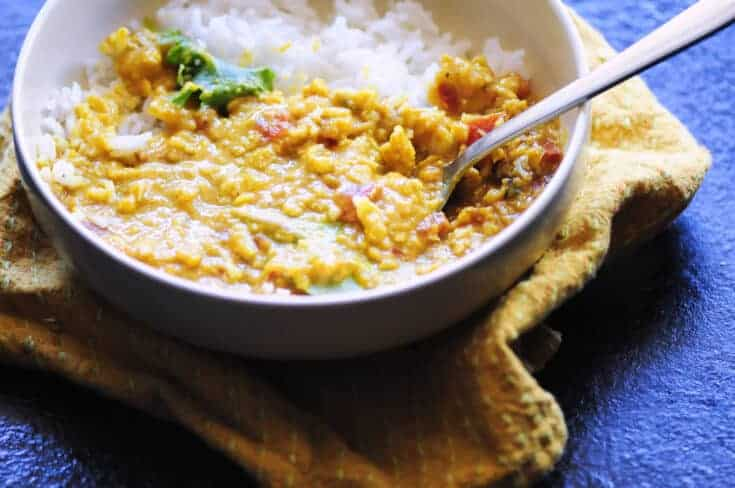 Spicy Coconut Red Lentil Dal (Instant Pot + Stovetop)