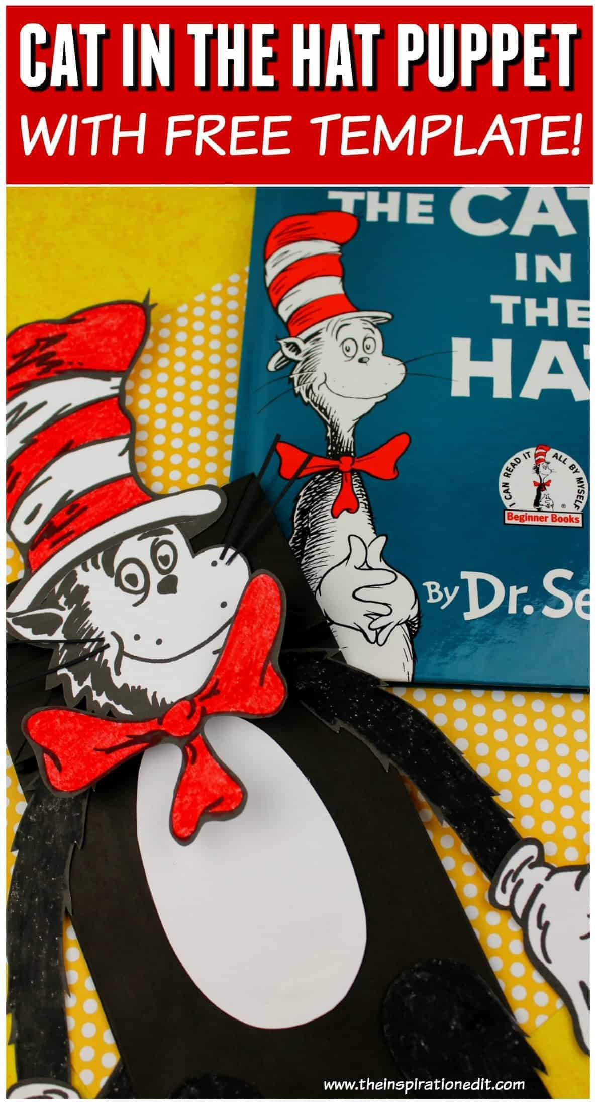 dr seuss puppet cat in the hat puppet idea with free cat template