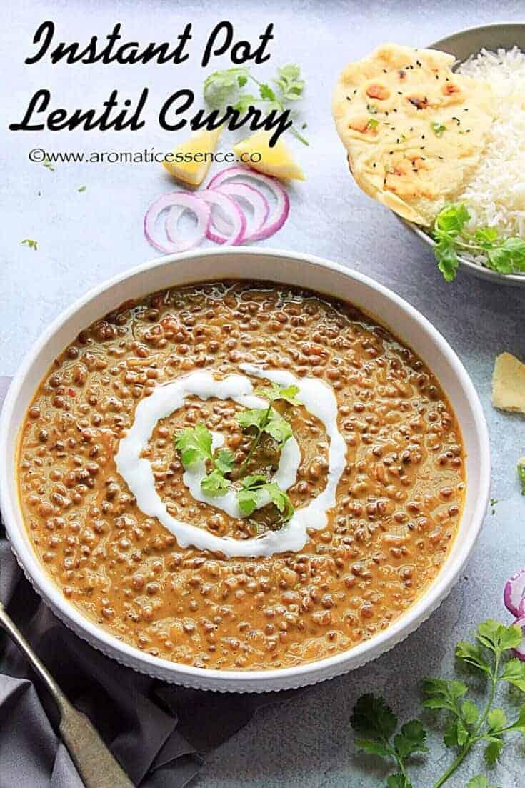 Instant Pot Lentil Curry Recipe | Vegan Brown Lentil Curry