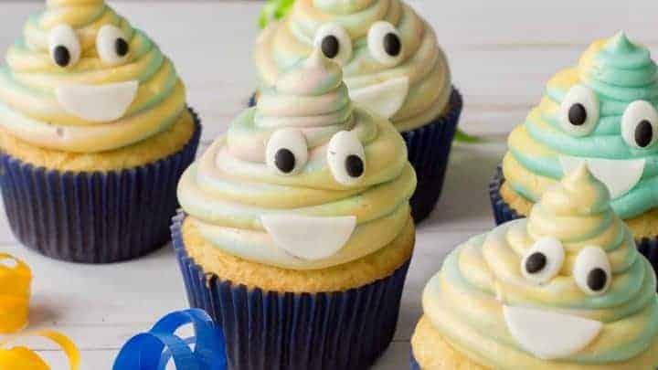 birthday party emoji cupcakes