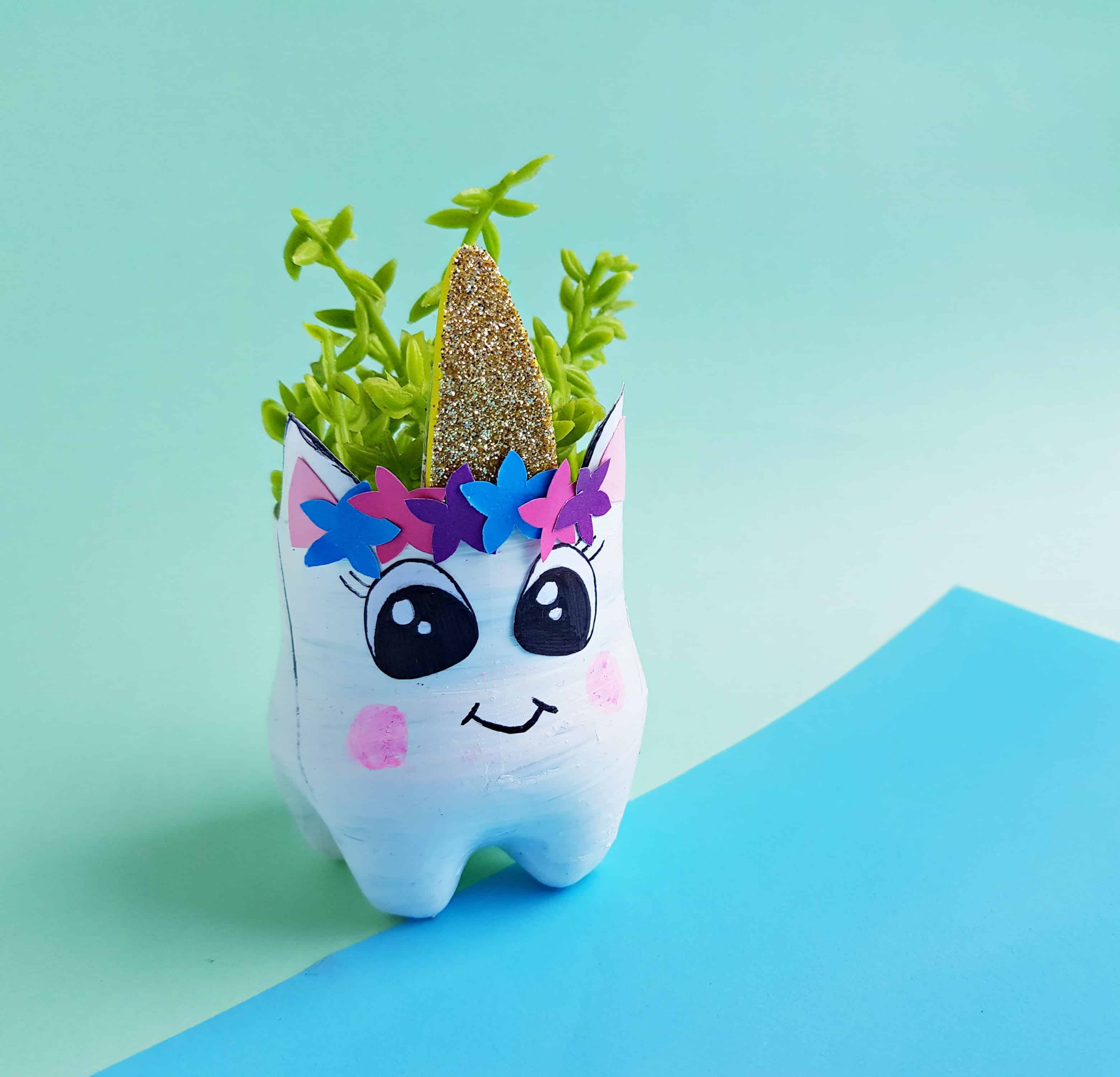 DIY Planter Ideas Bottle Recycling Unicorn Planter