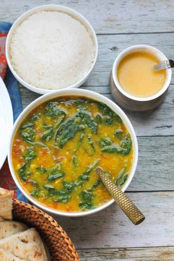 EASY Spinach Dal with Rice - Instant Pot