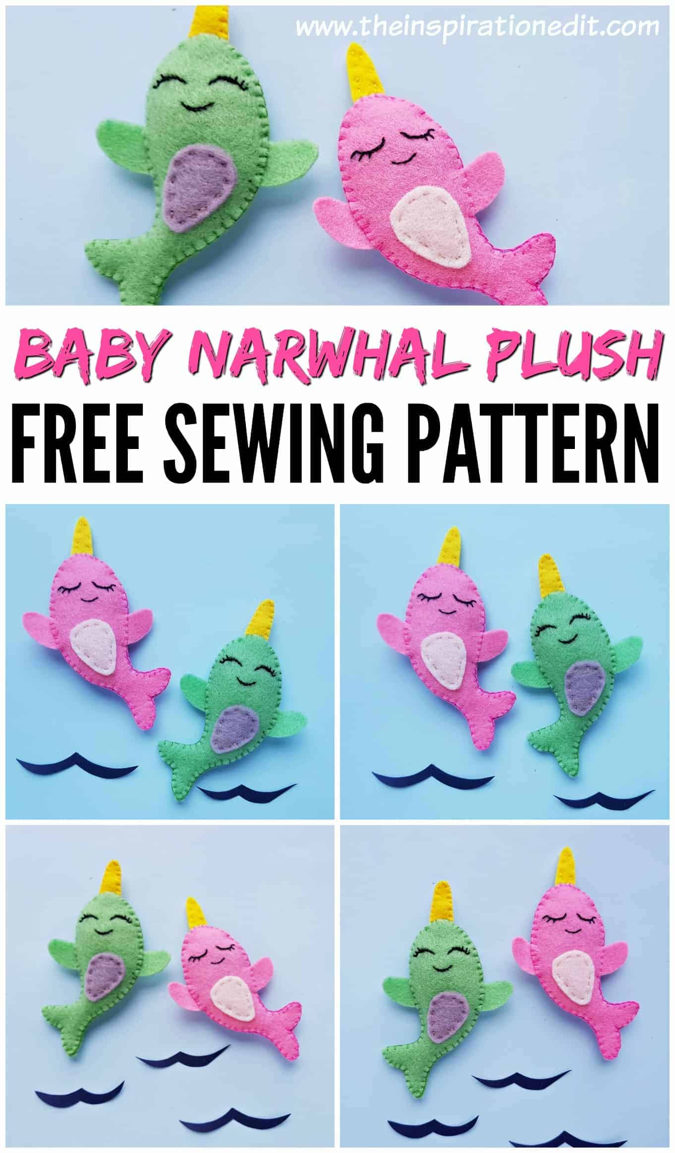 baby narwhal free sewing pattern