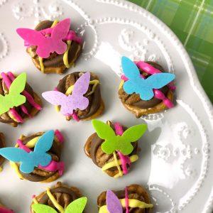 pretzel butterfly party food idea