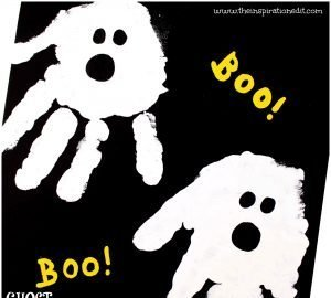 halloween ghost handprint art