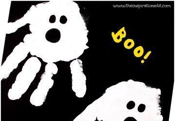 halloween ghost handprint art