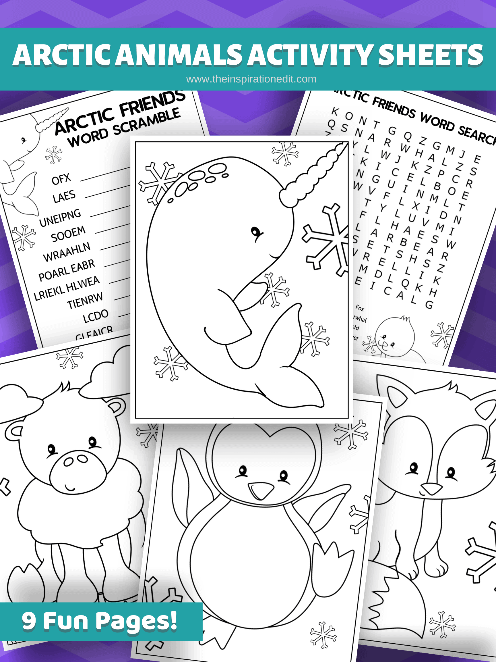Artic friends activity sheets for kids