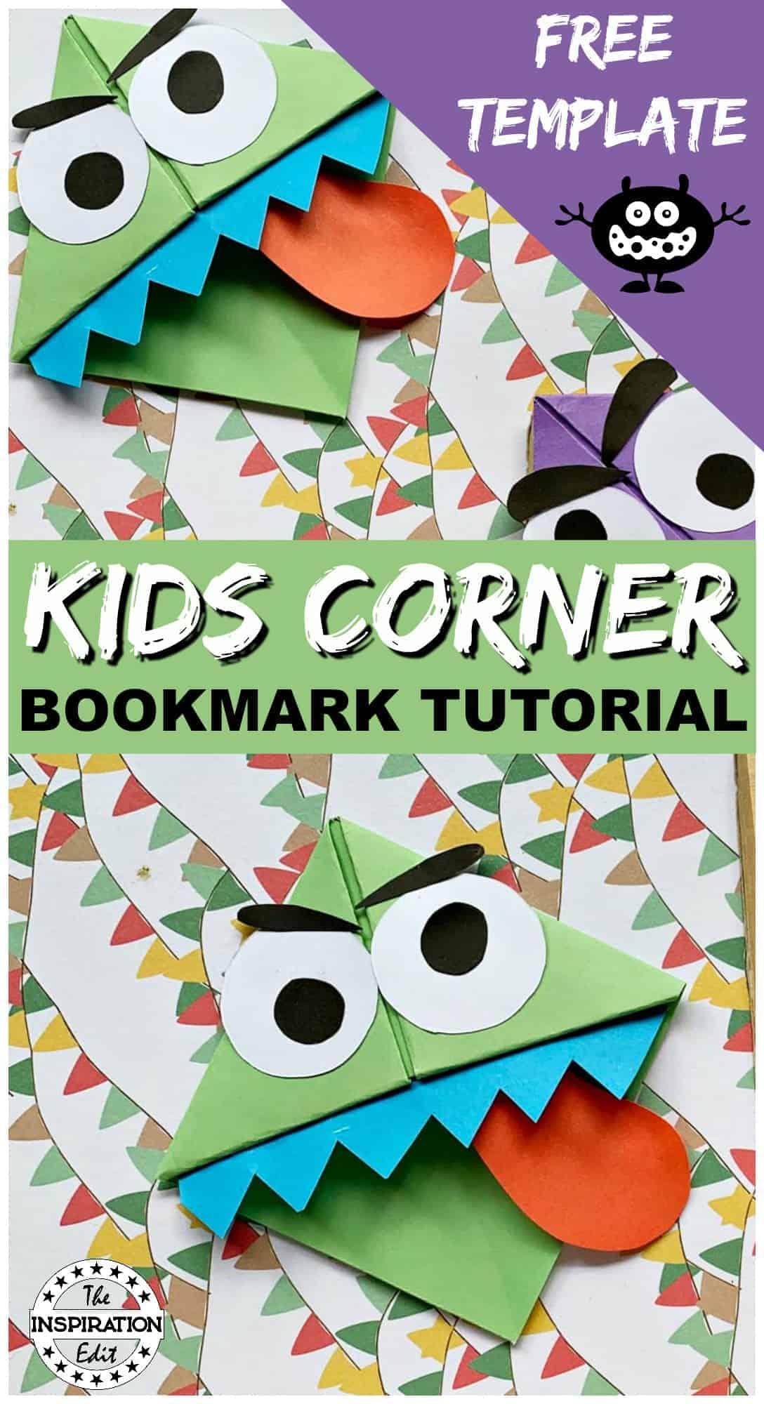 easy monster corner bookmark tutorial for kids to enjoy