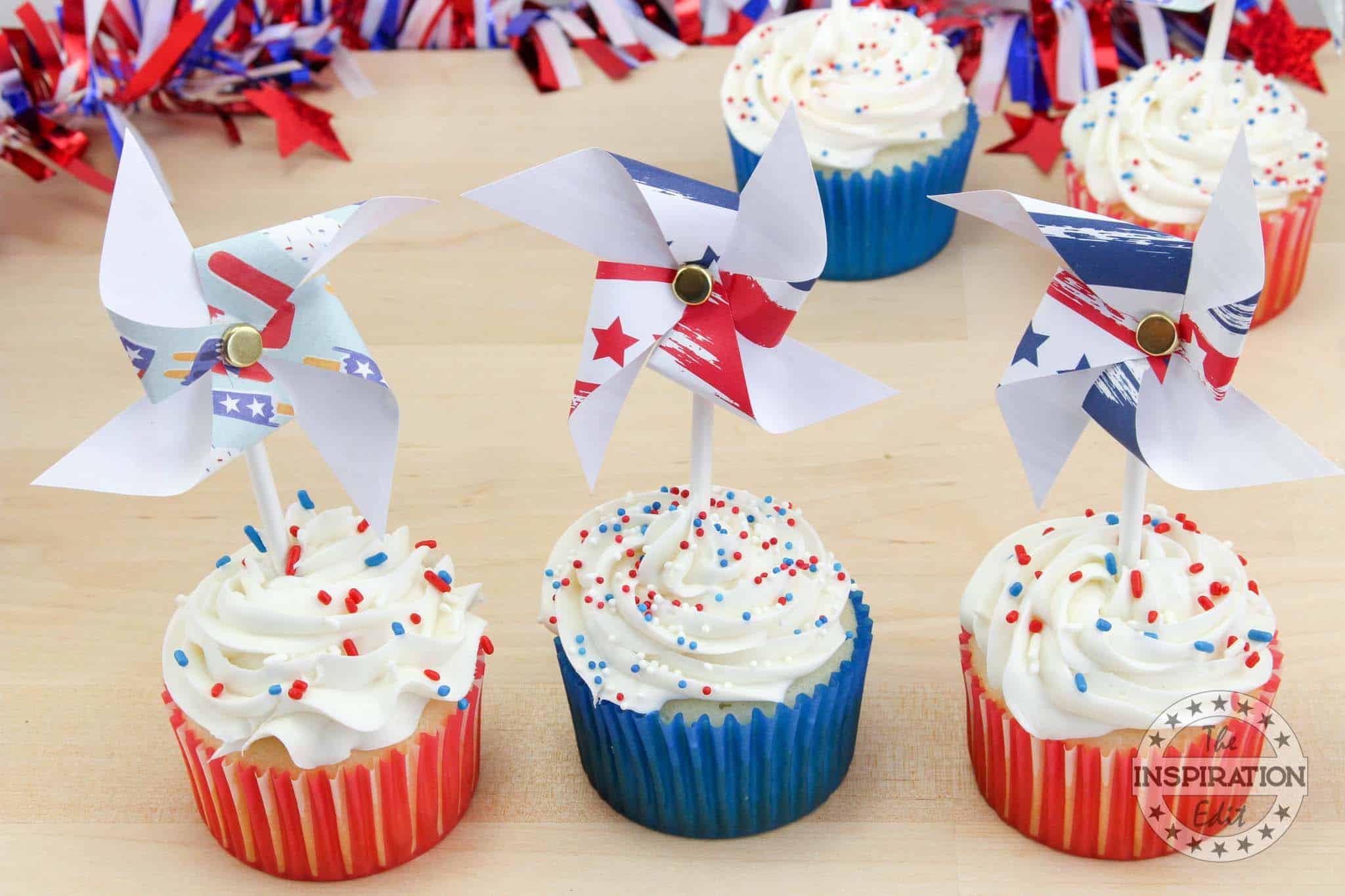 Patriotic Pinwheel Cupcakes