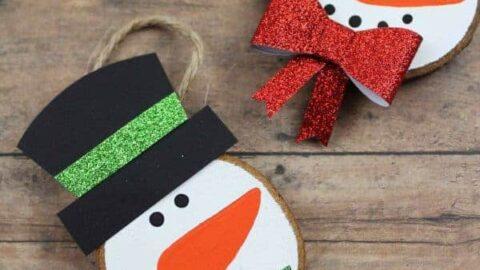 snowman wooden slice decorations