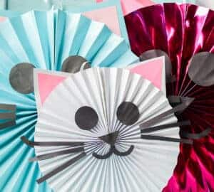 cat paper fan craft for cat party