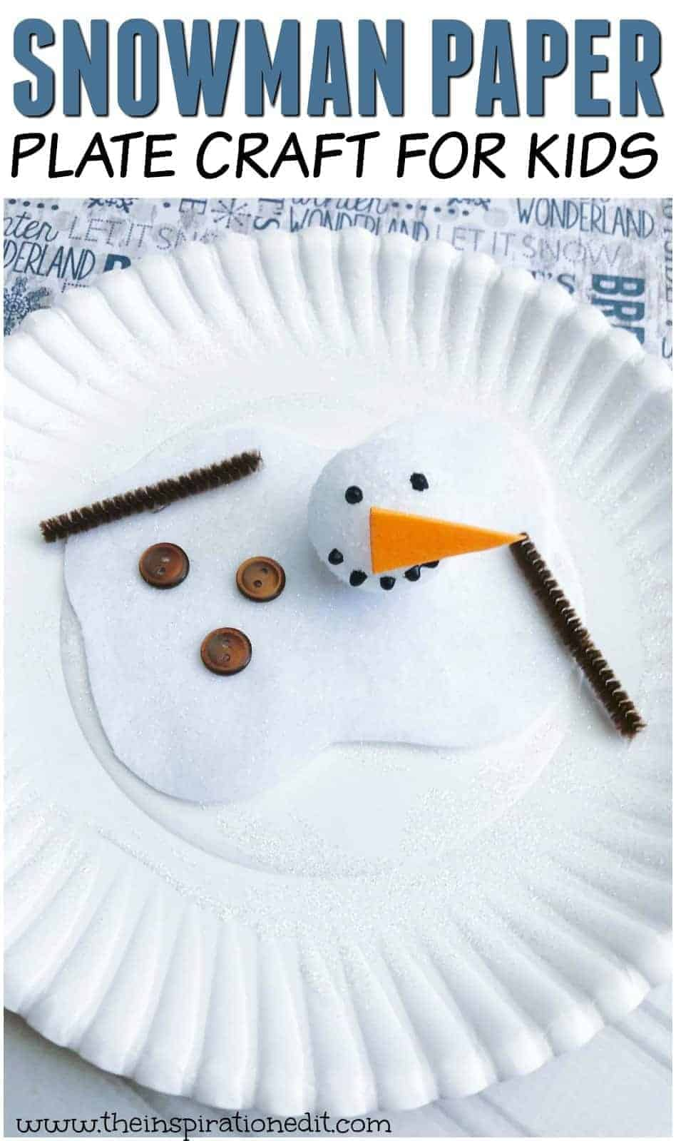 melted snowman paper plate craft
