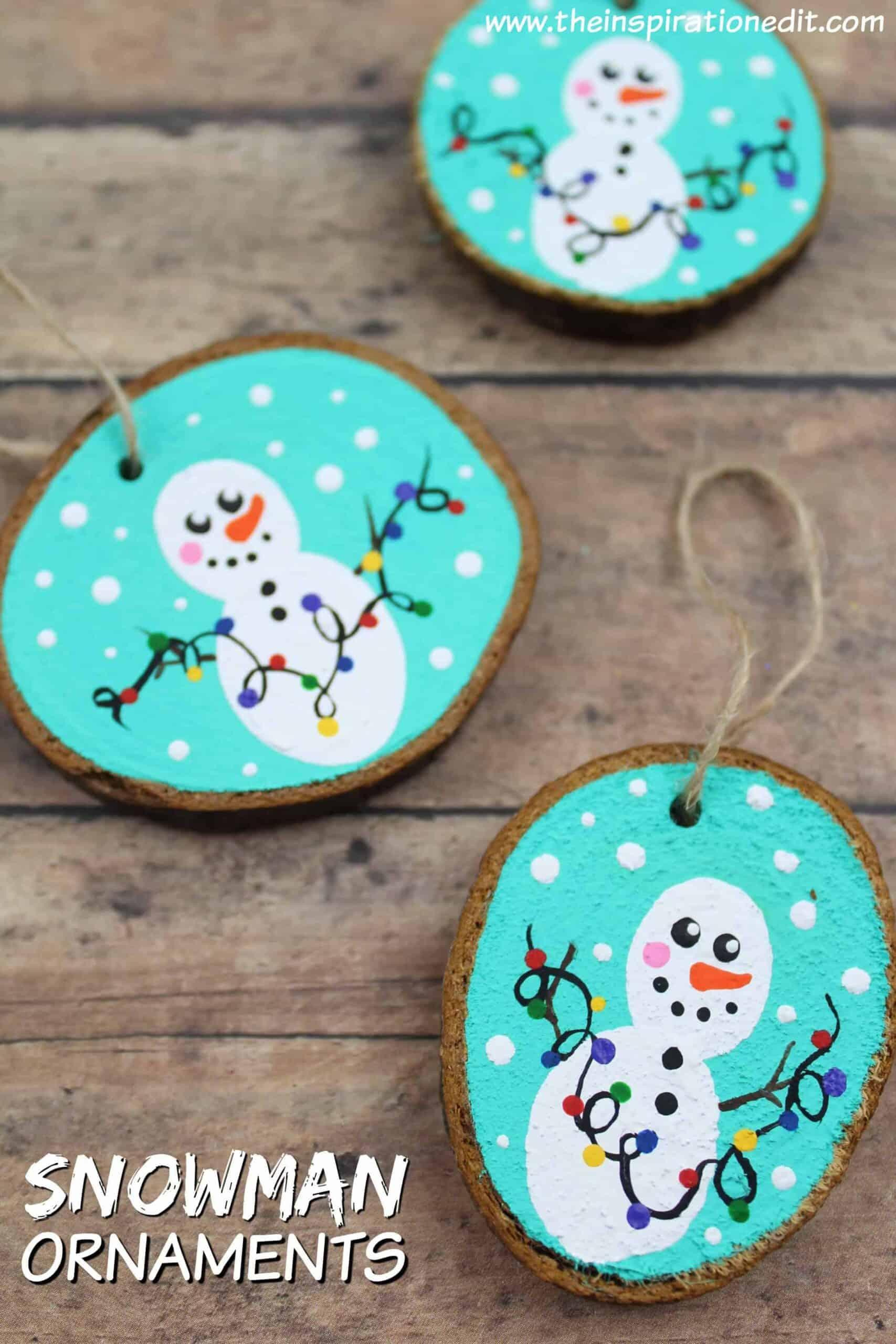 wooden snowman ornament decoration