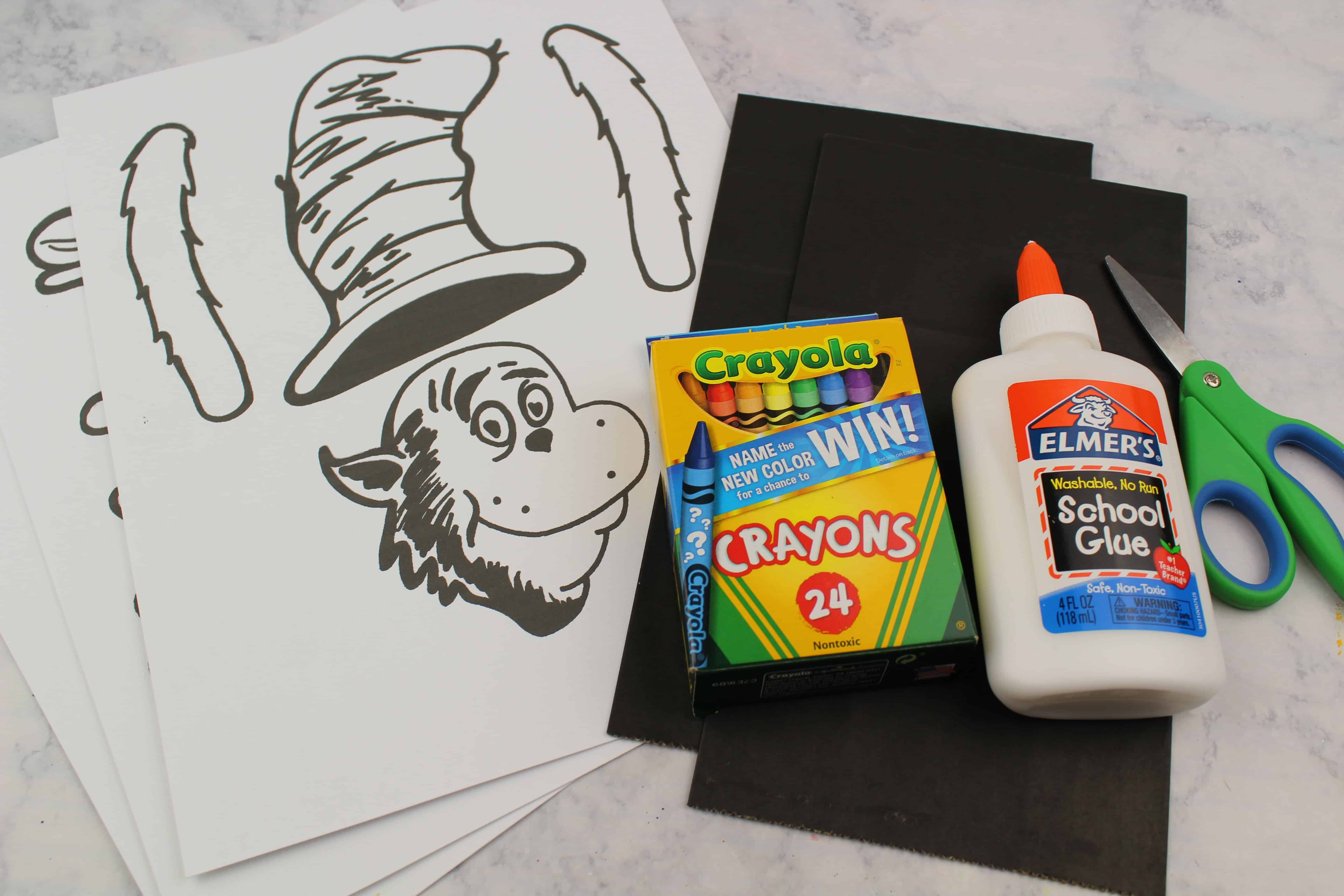 cat in the hat puppet supplies including tempate
