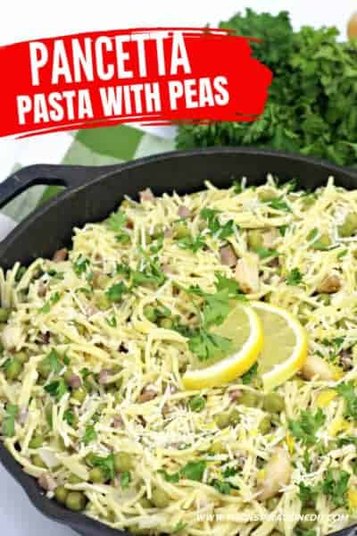 pancetta pasta with peas