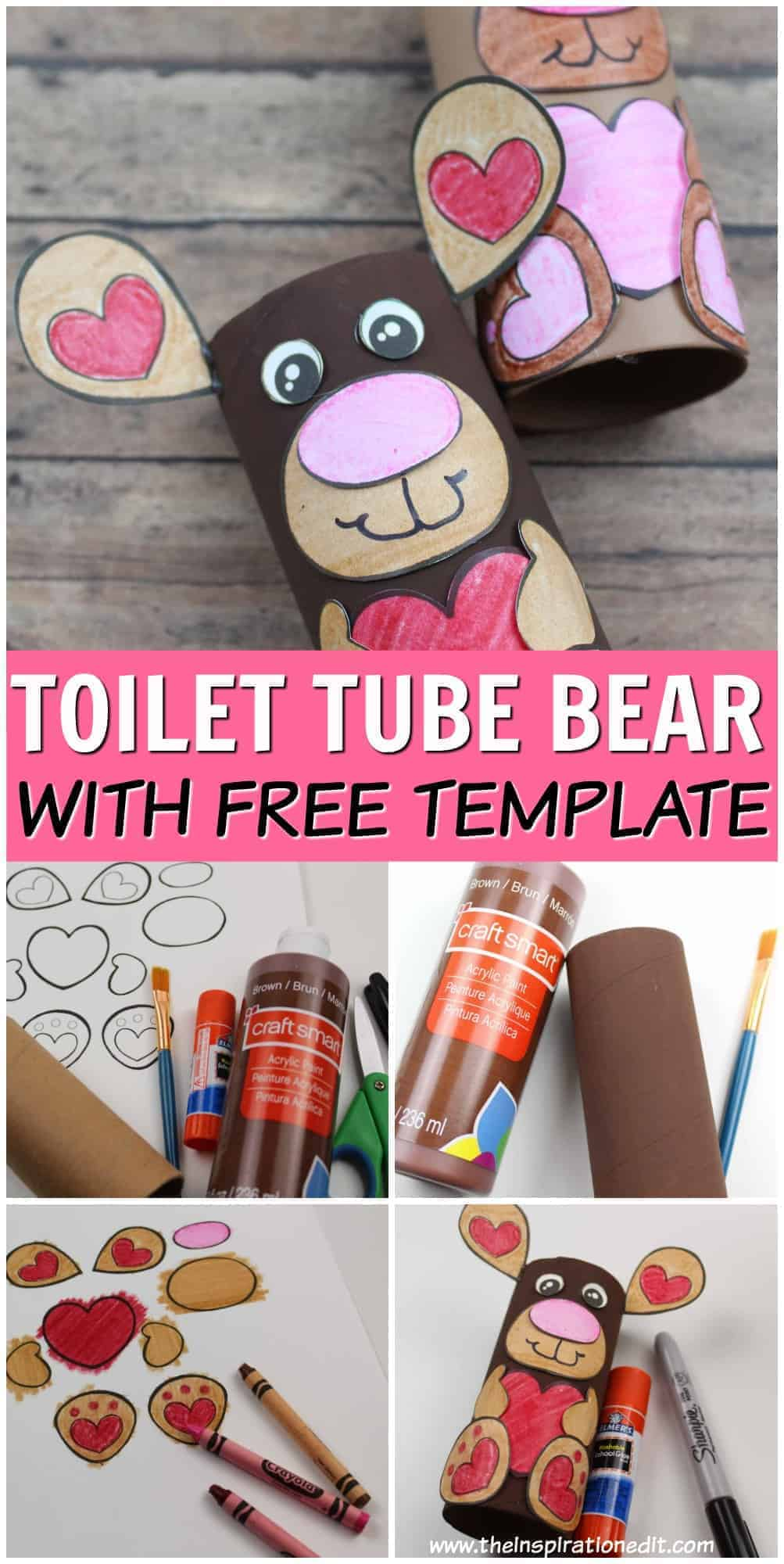toilet tube bear with free template