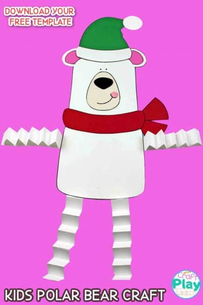 kids polar bear craft with free template
