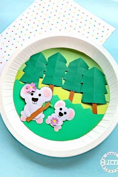 paper plate koala bear craft