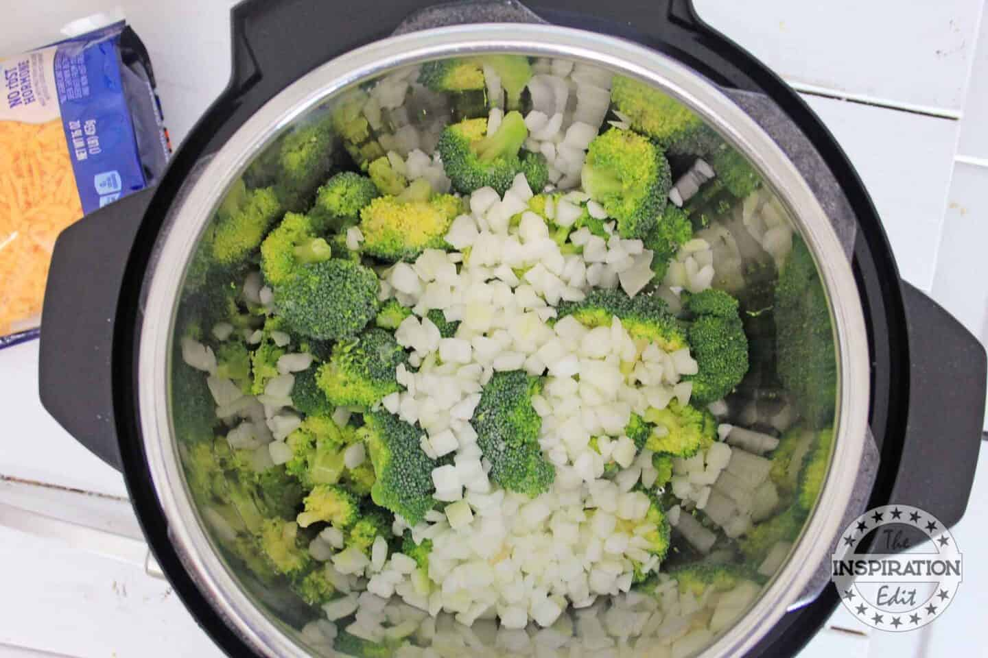 making instant pot broccoli cheese soup