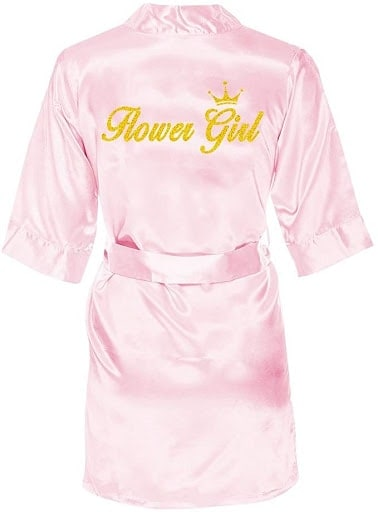 Satin kimono with words flower girl in gold