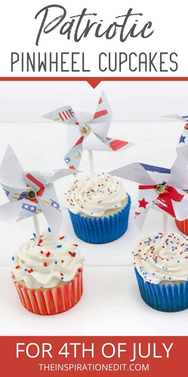 4th july pinwheel cupcakes
