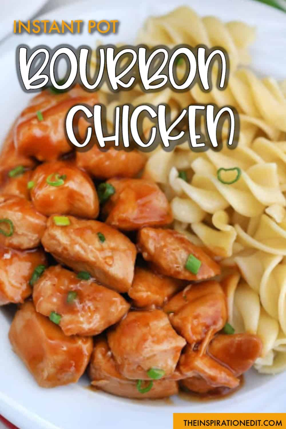 Instant Pot Bourbon Chicken on a white plate