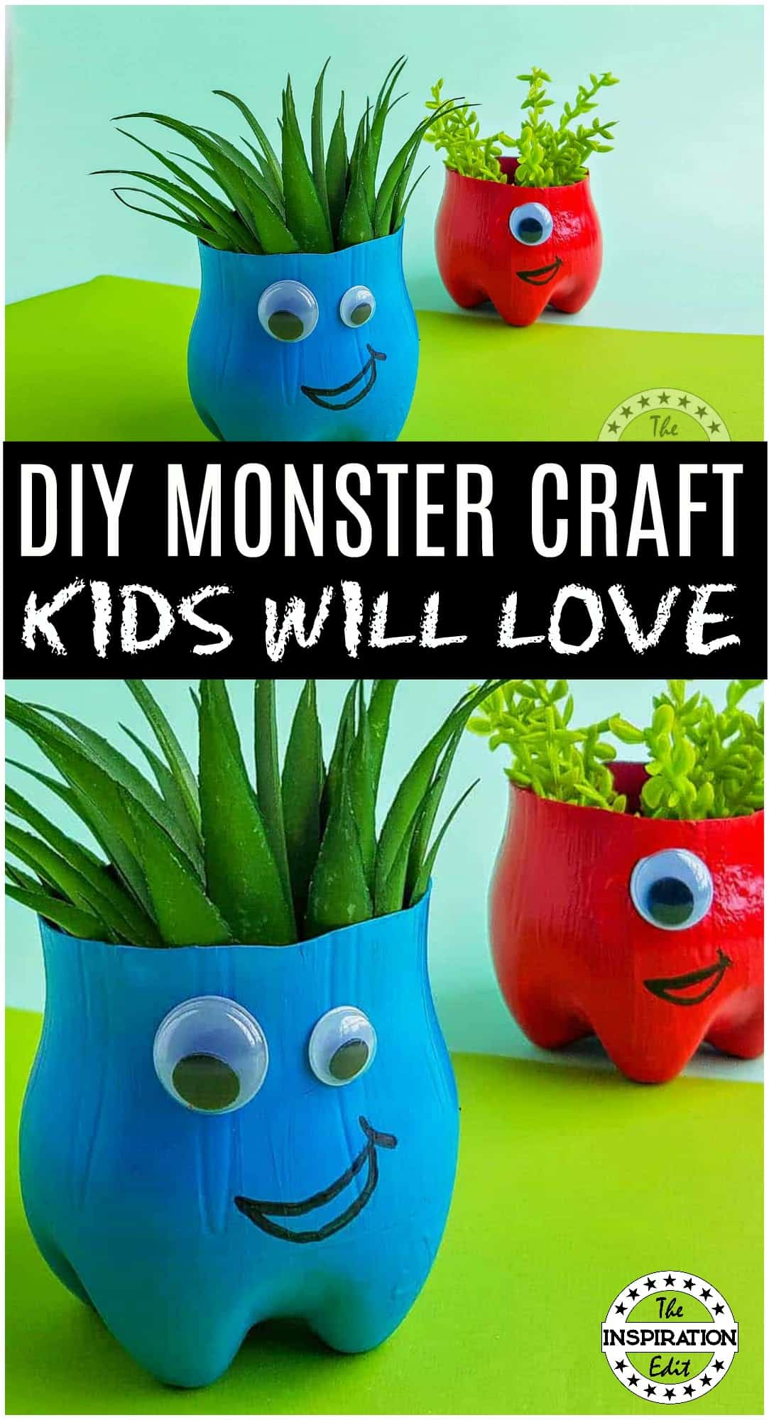 monster craft made from recycled plastic bottle