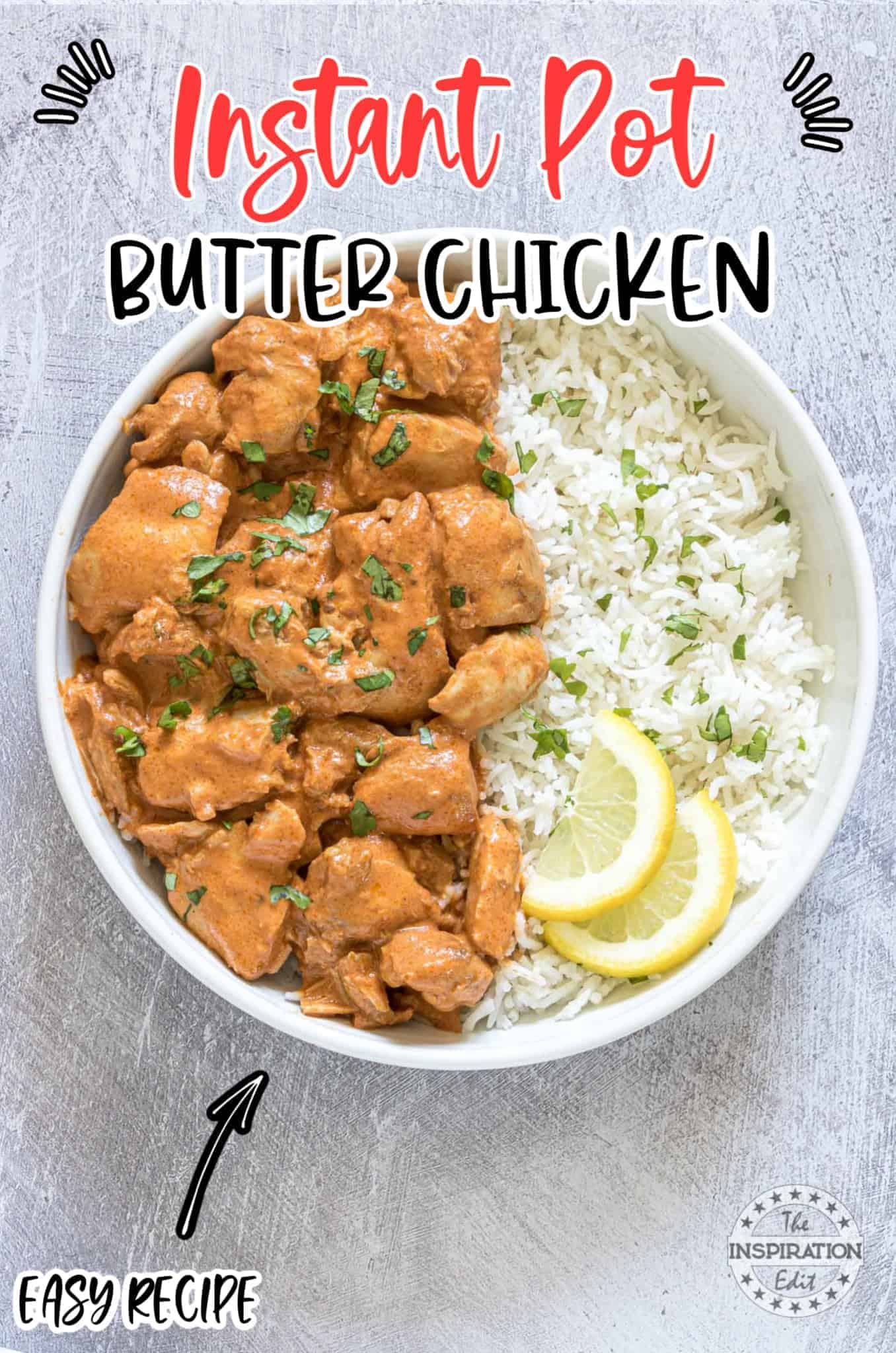 instant pot butter chicken in a white bowl with rice and lemon garnish