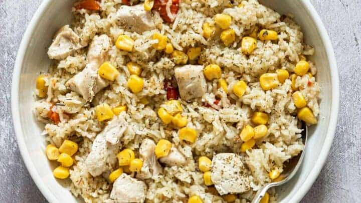instant pot chicken and vegetable rice in a bowl with a spoon