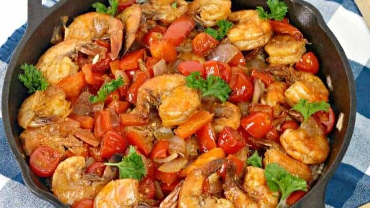 RICE AND SHRIMP IN THE SKILLET
