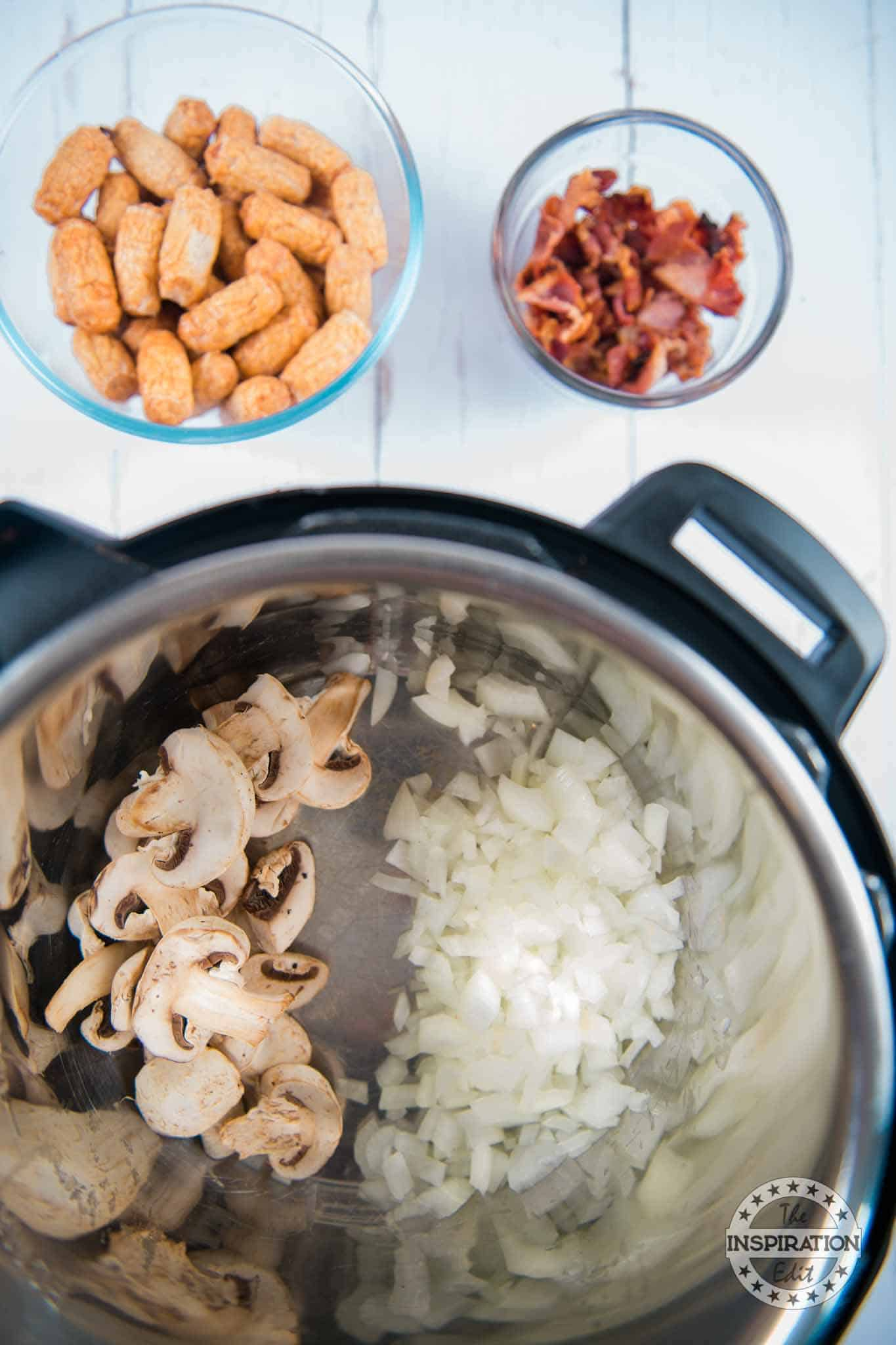 saute onions and mushrooms in the instant pot