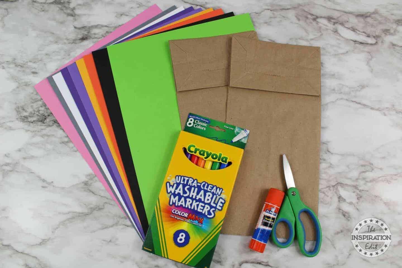 supplies for frankenstein craft for halloween using craft paper