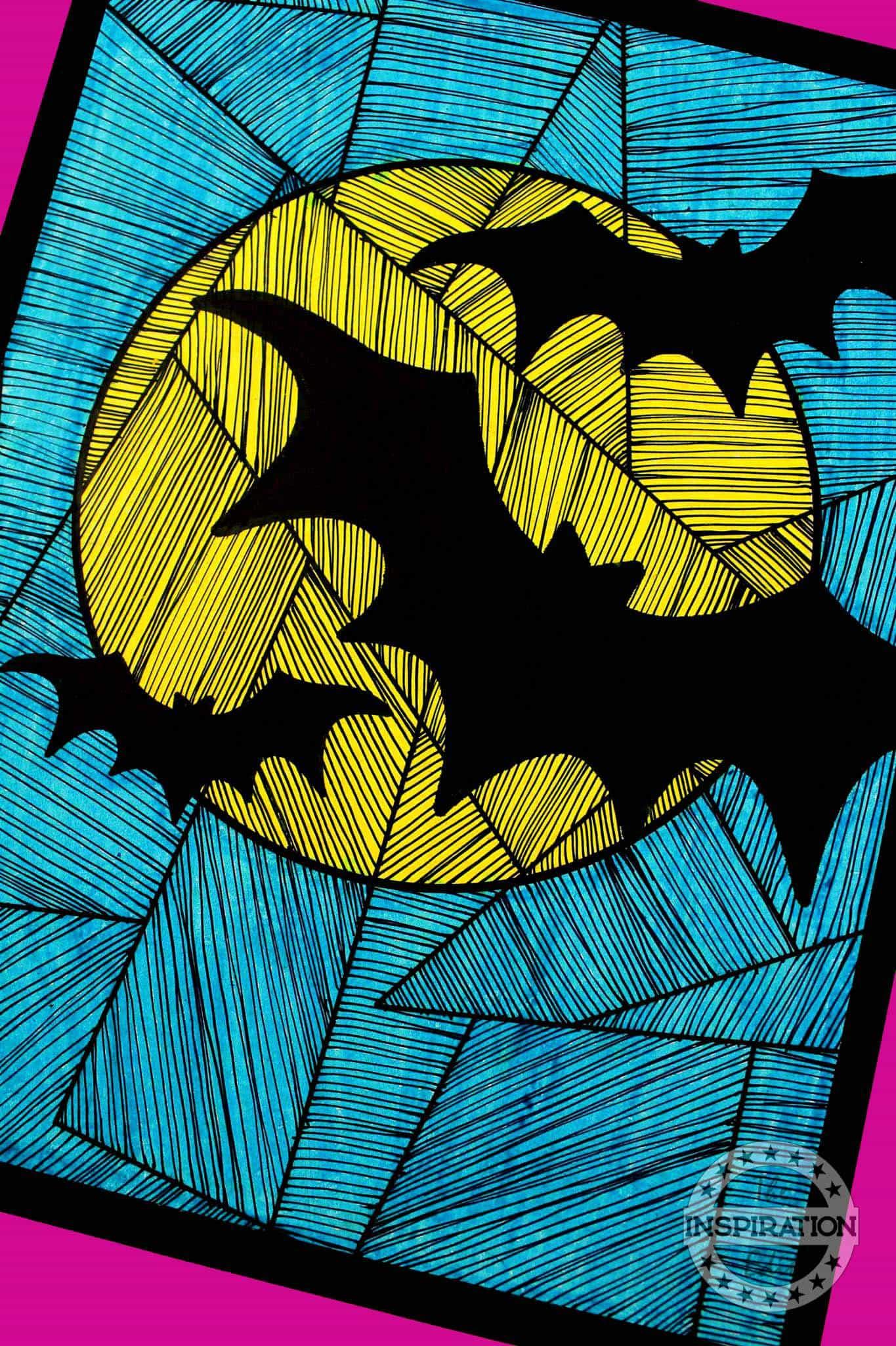 halloween bat craft line study for kids