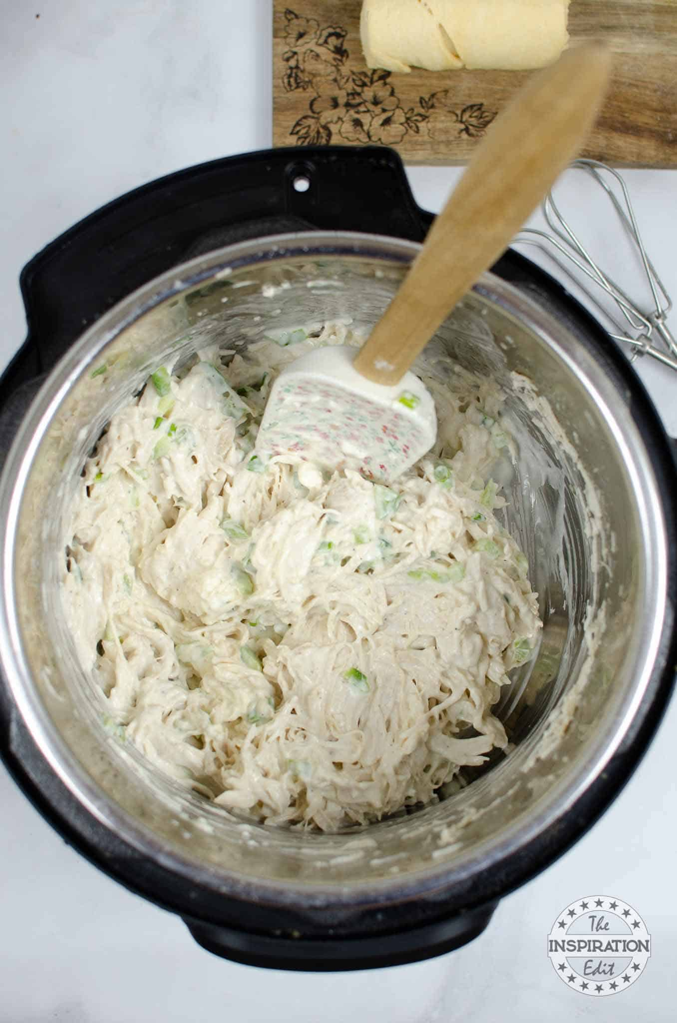creamy chicken filling in the Instant Pot