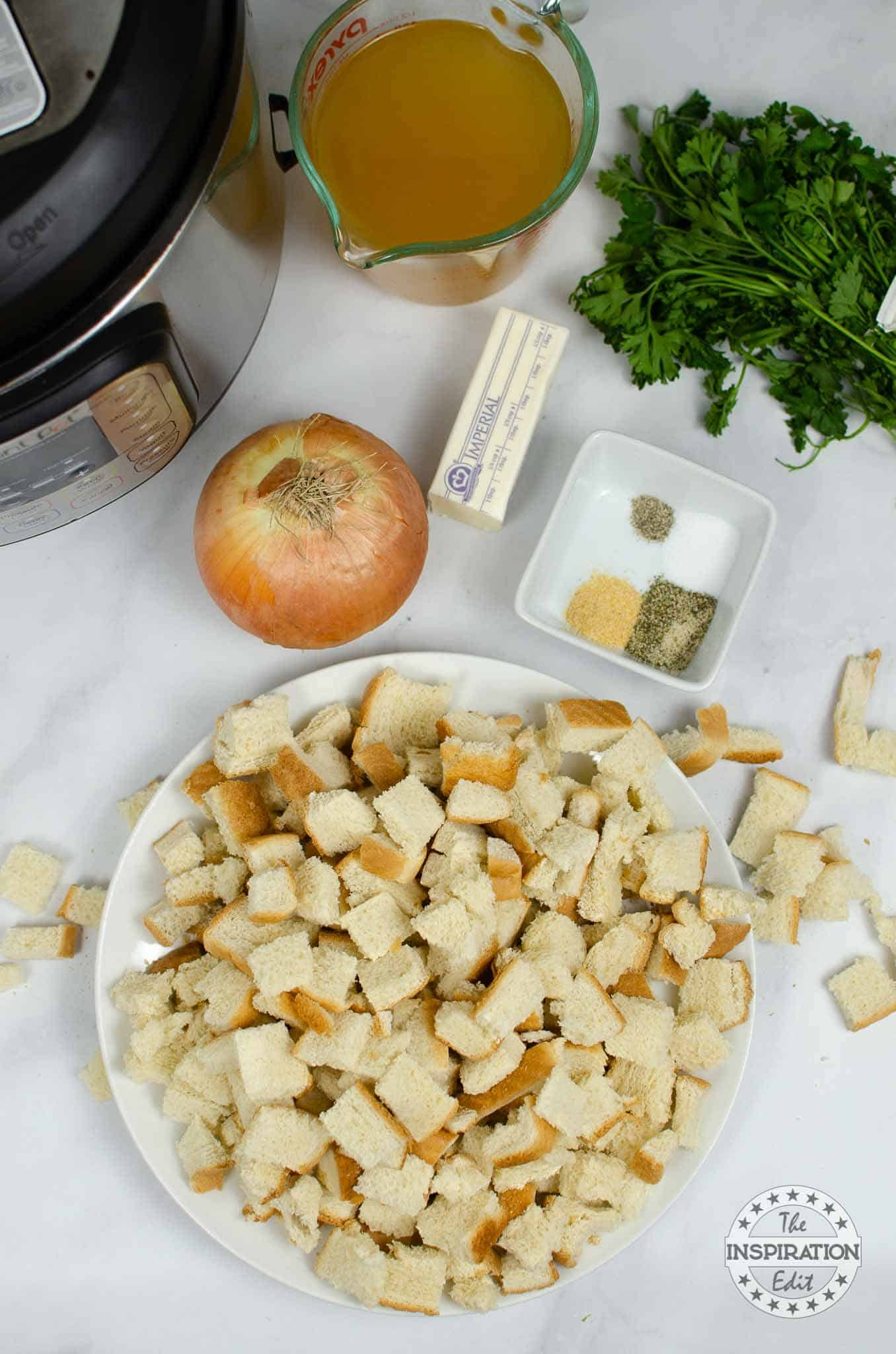 ingredients for instant pot stuffing recipe, bread and parsley and onion