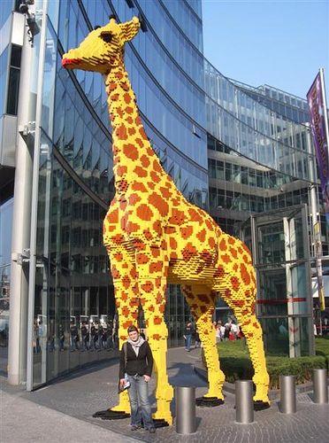lifesize giraffe made from lego