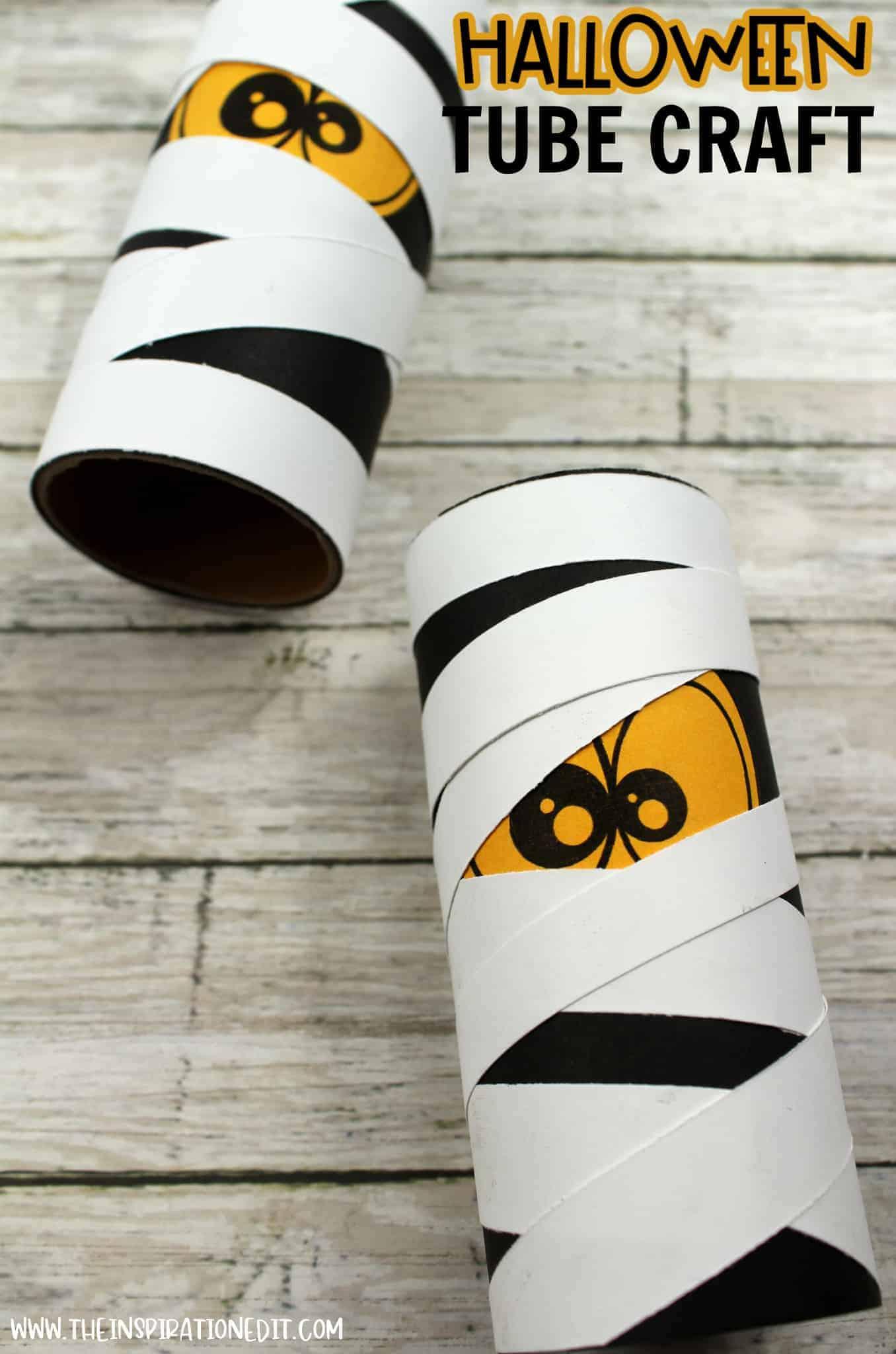 halloween mummy toilet tube craft