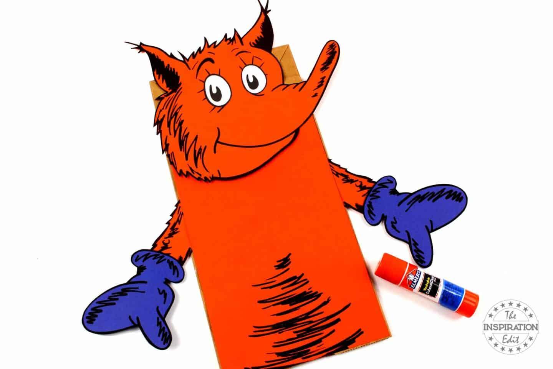 making a fox in socks paper bag puppet
